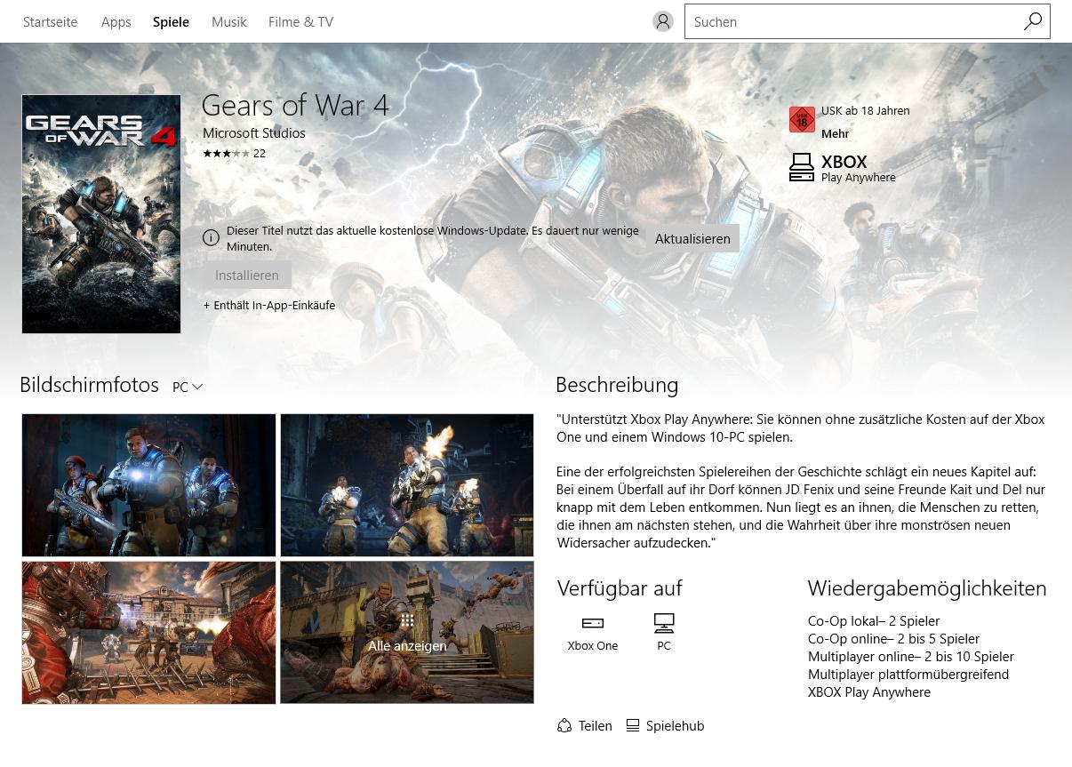Gears of War 4 im Technik-Test: Wahnsinnig, diese PC-Version - Ohne Anniversary Update kein Gears of War 4 (Screenshot: Golem.de)