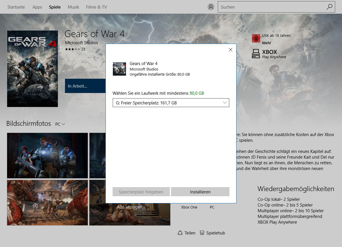 Gears of War 4 im Technik-Test: Wahnsinnig, diese PC-Version - Das Spiel belegt satte 80 GByte (Screenshot: Golem.de)