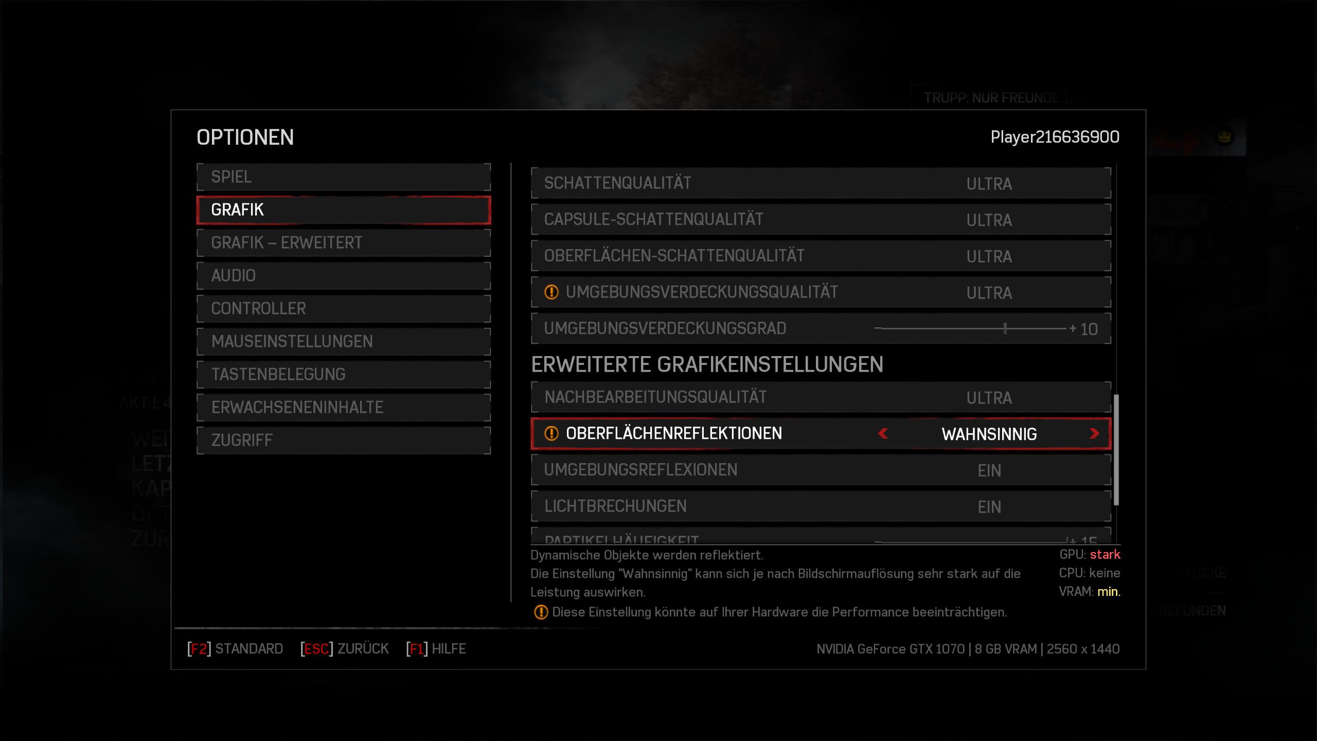 Gears of War 4 im Technik-Test: Wahnsinnig, diese PC-Version - Wahnsinnige Reflektionen sehen kaum besser aus (Screenshot: Golem.de)