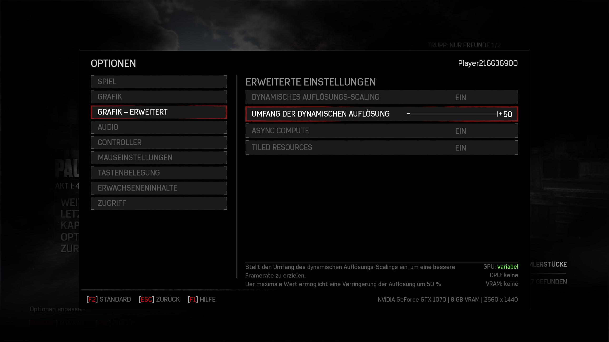 Gears of War 4 im Technik-Test: Wahnsinnig, diese PC-Version - Gears of War 4 dynamisch upscalen oder downsamplen (Screenshot: Golem.de)