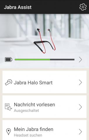 Die Jabra-App informiert über die Akkulaufzeit. (Screenshot: Golem.de)