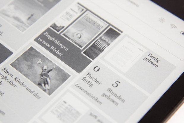 Das E-Paper-Display hat einen hohen Kontrastumfang. (Bild: Martin Wolf/Golem.de)
