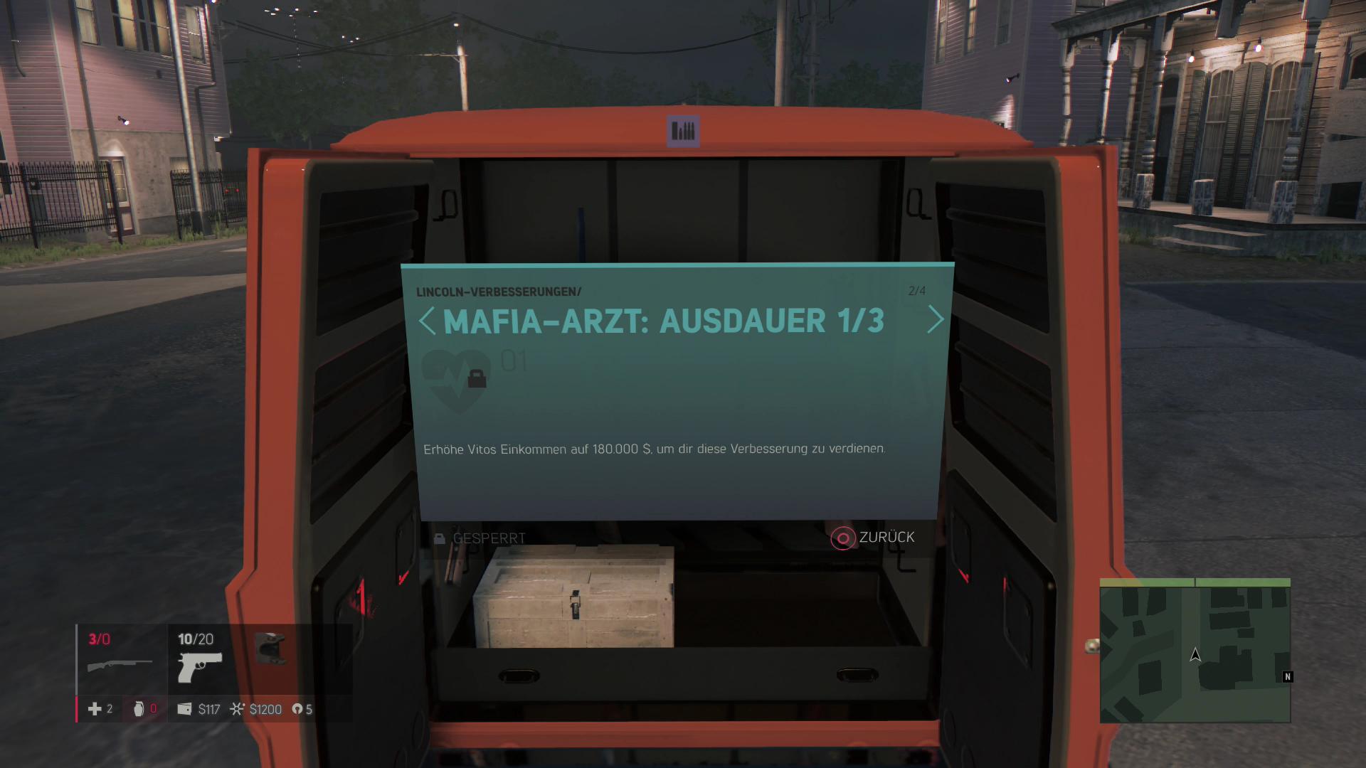 Mafia 3 im Test: Sex, Drogen und Rassismus - Im Spielverlauf lassen sich Hauptfigur, Waffen und Autos verbessern. (Screenshot: Golem.de)