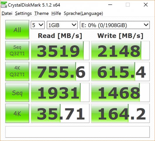 Die 960 Pro liest und schreibt sehr schnell (Screenshot: Marc Sauter/Golem.de)