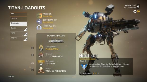 Mulitplayerspieler wählen zwischen sechs Titan-Klassen (Screenshot PC: Golem.de)
