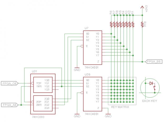 Matrix-Schaltung der Bedientasten am Oszilloskop (Bild: Christer Weinigel)