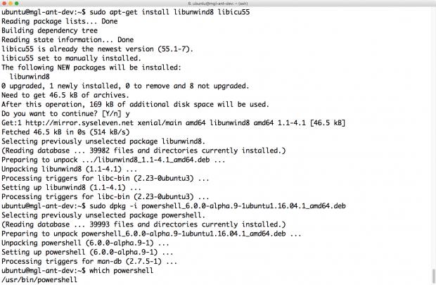 Nach der Installation von libunwind8 und libicu55 lässt sich die Powershell mit Hilfe des Deb-Pakets von Microsoft installieren. (Screenshot: Martin Loschwitz)