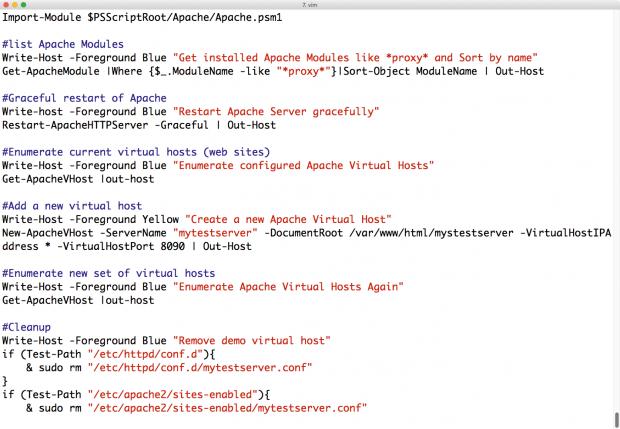 ... danach aus dem jeweiligen Shell-Skript aufrufen lassen. Wie klassische Unix-Shells beherrscht die Powershell umfangreiches Scripting. (Screenshot: Martin Loschwitz)