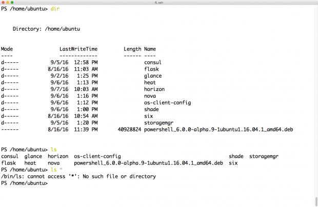 Dir und ls rufen unterschiedliche Programme auf - bei ls klappt das Globbing aber nicht. (Screenshot: Martin Loschwitz)