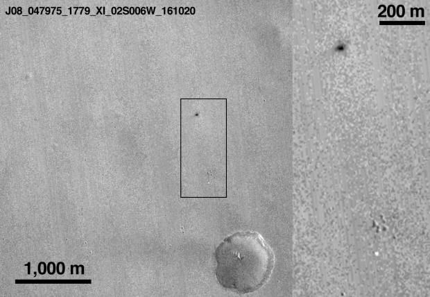 Die Einschlagstelle von Schiaparelli im Detail. (Quelle: Esa)