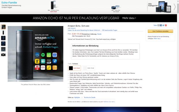 Amazon nennt mehrere Wochen Wartezeit für eine Echo-Kaufeinladung. (Screenshot: Golem.de)