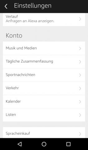 In der Alexa-App finden sich verschiedene Einstelloptionen für Echo. (Screenshot: Golem.de)