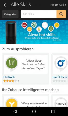 Über den Skills-Shop kann Alexa erweitert werden. (Screenshot: Golem.de)