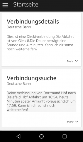 Die Bahn-Auskünfte in der Alexa-App (Screenshot: Golem.de)