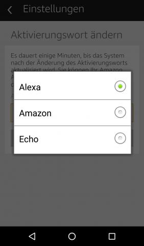 Mit einem dieser drei Signalwörter wird Echo aktiviert. (Screenshot: Golem.de)