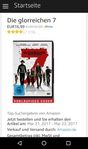 """Das Bestellen der DVD """"Die glorreichen Sieben"""" war nicht ganz einfach. (Screenshot: Golem.de)"""