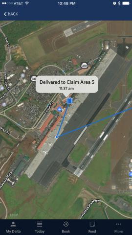 In der Fly-Delta-App von Delta Air Lines wird die Position des Gepäcks dargestellt. (Bild: Delta Air Lines)