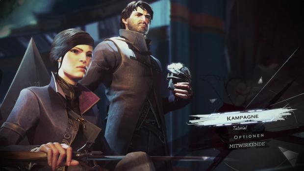 Das Hauptmenü von Dishonored 2 führt zur Kampagne und zum Tutorial. (Screenshot: Golem.de)