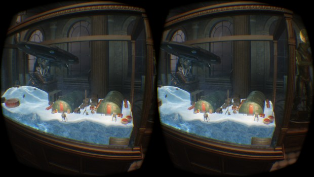Szene aus dem VRMark Orange Room in VR (Screenshot: Marc Sauter/Golem.de)