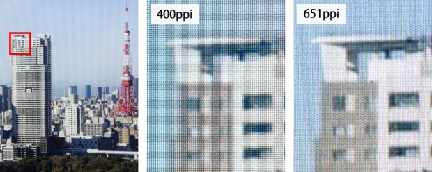 Vergleichsbilder von Japan Display - Pixeldichte bei aktuellen und kommenden Displays (Bild: Japan Display)