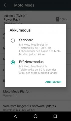 In den Einstelungen kann die Betriebsart des Akku-Mods angepasst werden. (Screenshot: Golem.de)