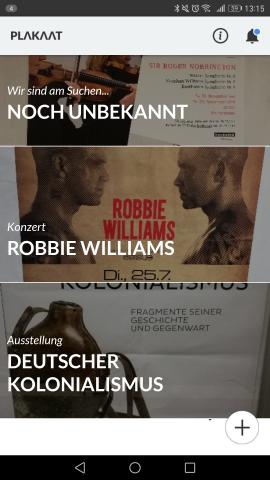 Der Startbildschirm von Plakaat mit den Informationen der abfotografierten Plakate - der obere Eintrag wird noch herausgesucht. (Screenshot: Golem.de)