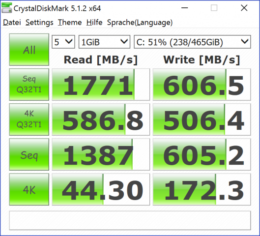 Messwerte der Samsung-SSD, Crystal Disk Mark (Screenshot: Marc Sauter/Golem.de)