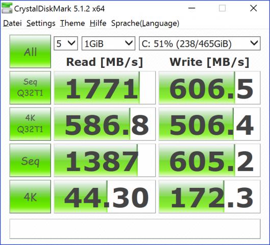 Messwerte der Samsung-SSD, Crystal Disk Mark (Screenshot: Marc Sauter/Golem.de)