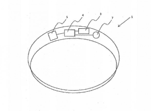 Eine schematische Darstellung des Sony-Armbandes. (Bild: Sony/USPTO)