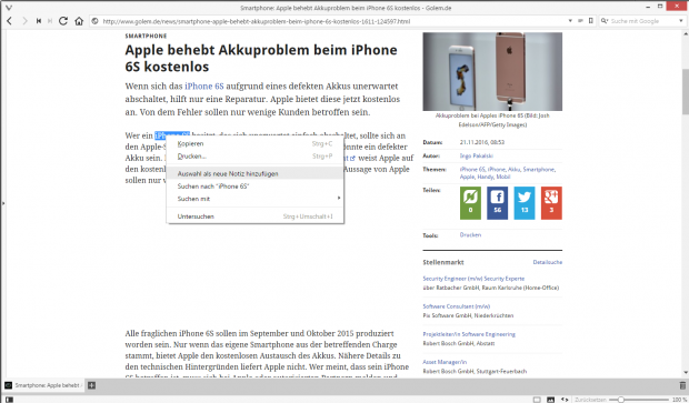 Die verbesserte Notizfunktion ... (Screenshot: Golem.de)