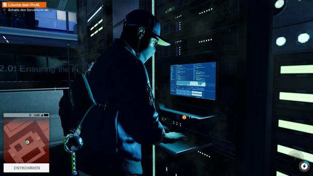 Hauptfigur Marcus hackt nach dem Start von Watch Dogs 2 den ersten von sehr vielen Rechnern. (Screenshot: Golem.de)