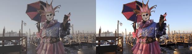 Simulierte HDR-Wiedergabe (rechts) vs. SDR-Video (links) <br>(Bild: Youtube)