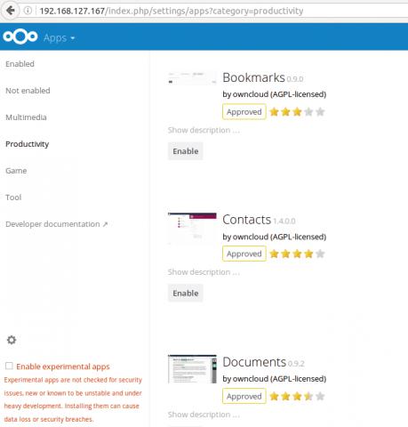Nextcloud hat bereits nutzbare Apps an Bord, der Ubuntu Snap Store ließ sich hingegen nicht aktivieren.