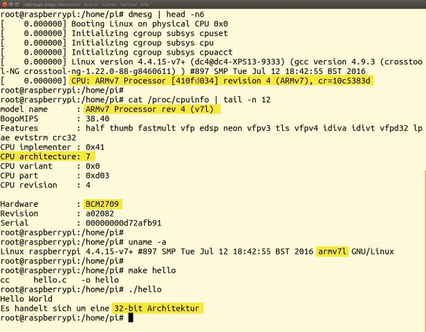 Mit dem Standard Raspbian verleugnet der Mini-Rechner seine moderne Architektur und tarnt sich als 32-Bit-SoC.
