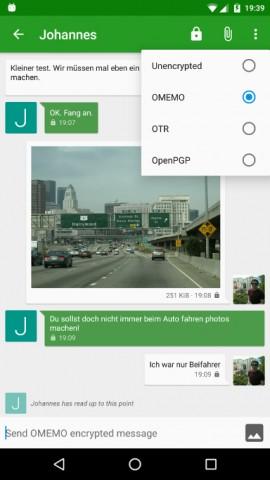 Conversations unterstützt die Omemo-Verschlüsselung. (Bild: Conversations)