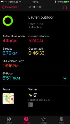 Auswertung einer Laufen-Trainingseinheit mit der App von Apple auf dem iPhone (Screenshot: Golem.de)