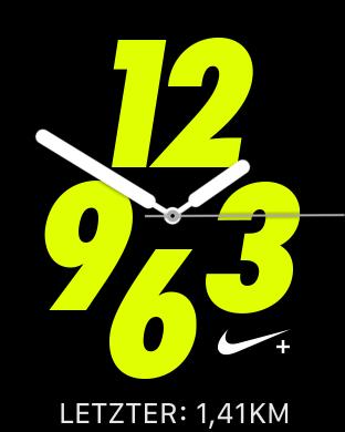 Die exklusiven Nike-Zifferblätter sind extrem gut ablesbar. (Screenshot: Golem.de)