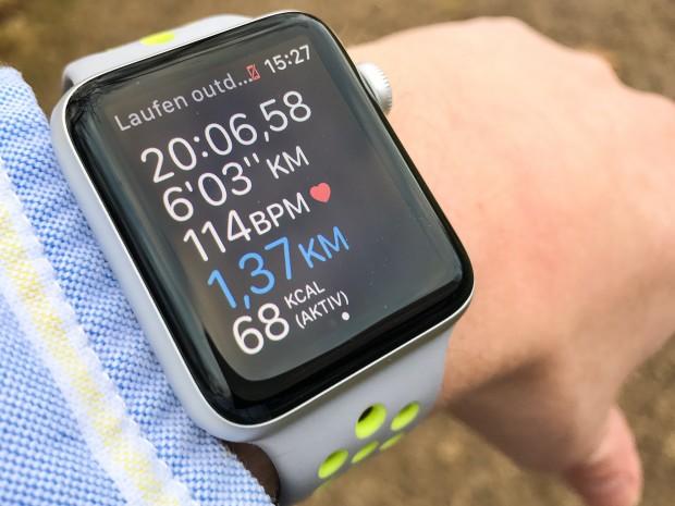 So sieht die Lauf-App von Apple auf der Watch aus. (Foto Golem.de)
