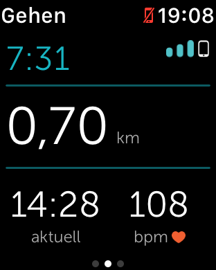 Die Trainingsansicht von Runkeeper (Screenshot: Golem.de)
