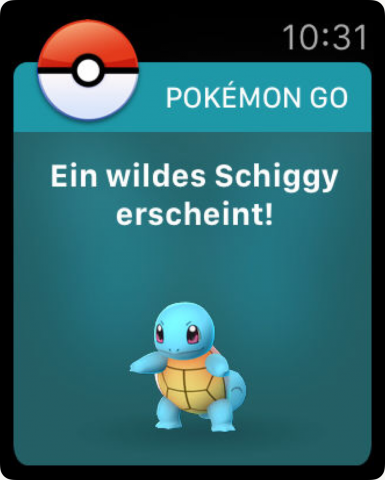 Pokémon Go auf der Apple Watch (Bild: Niantic)