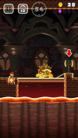 Mario muss die Endgegner nur überspringen oder unterlaufen, dann ist der Level geschafft. (Screenshot: Golem.de)
