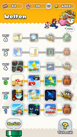 Auf der Weltkarte wählt der Spieler den nächsten Level aus. (Screenshot: Golem.de)