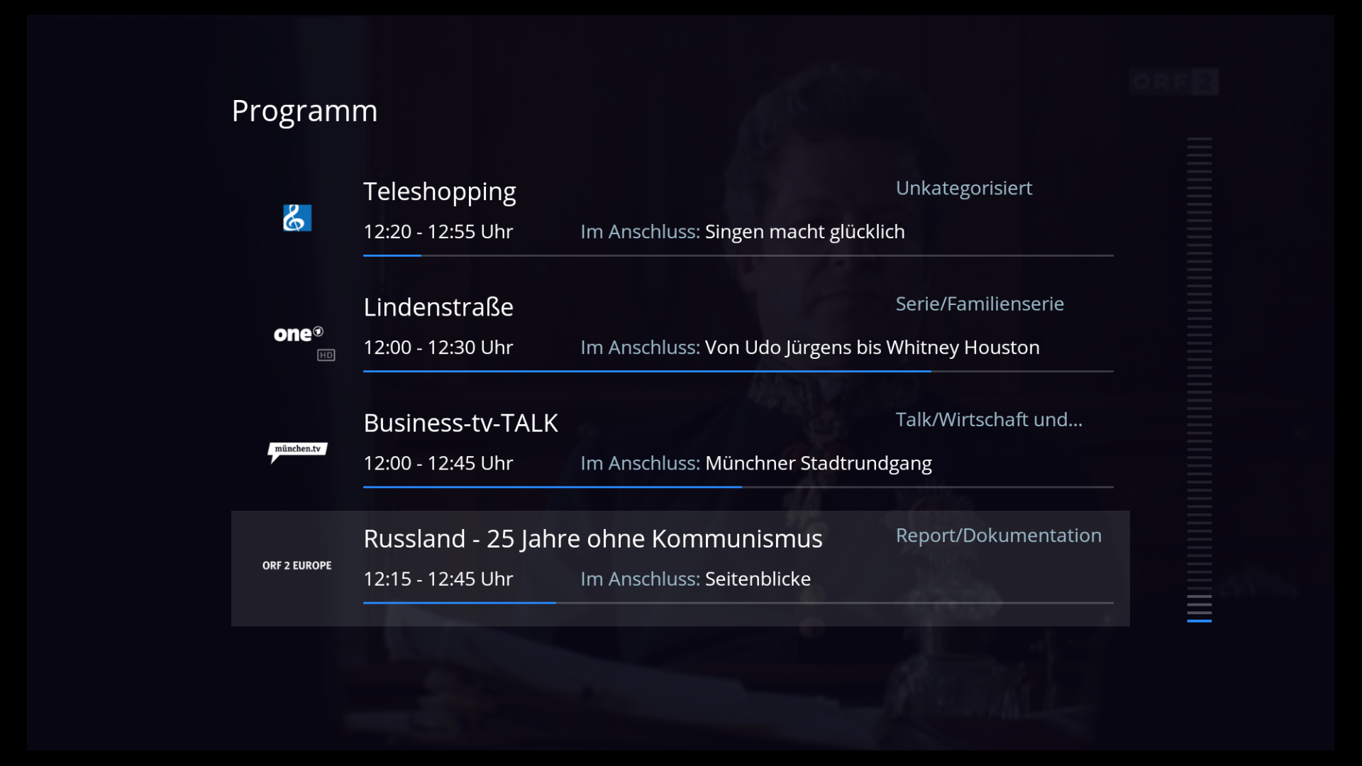 Fernsehstreaming: Fire-TV-App von Waipu TV bietet alle Kanäle kostenlos - Der EPG von Waipu TV auf dem Fire TV (Screenshot: Golem.de)