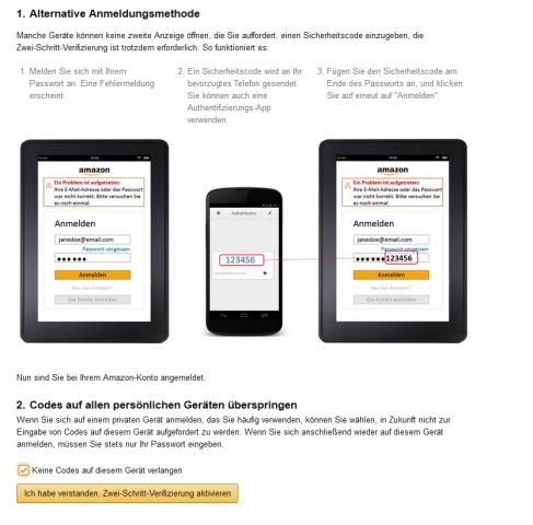 Amazon-Nutzer in Deutschland können ab sofort Zwei-Faktor-Authentifizierung nutzen. (Screenshot: Golem.de)