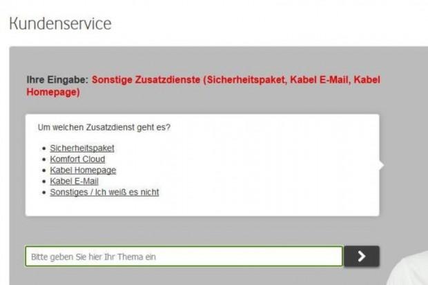 """Den Zusatzdienst """"Homebox"""" kennt das Kontaktformular von Vodafone nicht. (Screenshot: Golem.de)"""