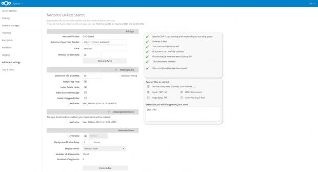 Nextcloud 11 nutzt zur Volltext-Suche Solr(Quelle: Nextcloud)