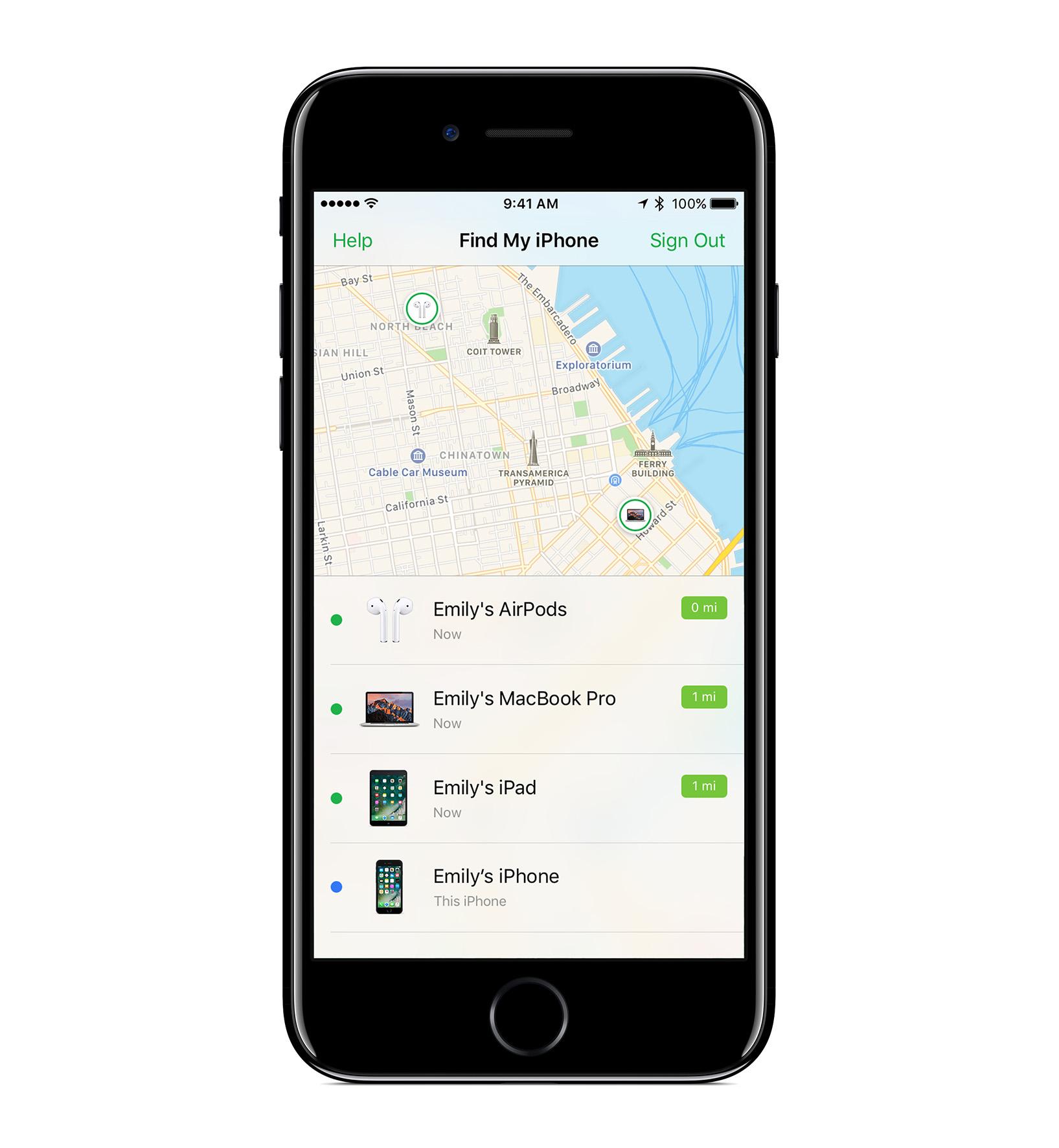 Apple: iOS 10.3 sucht nach verlorenen Airpods - Airpods-Suchfunktion in iOS 10.3 (Bild: Apple)