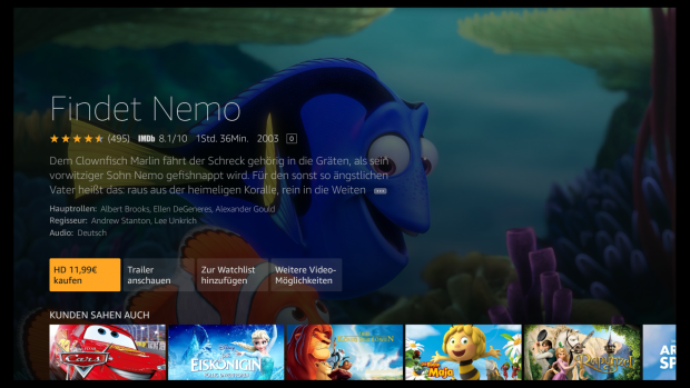 Findet Nemo ist Bestandteil von Netflix, aber der Hinweis fehlt auf der Fire-TV-Oberfläche. (Screenshot: Golem.de)