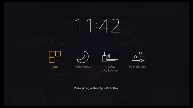 Das neue Bildschirmmenü von Fire OS 5.2.4.0 erscheint nach längerem Druck auf die Home-Taste auf der Fernbedienung. (Screenshot: Golem.de)
