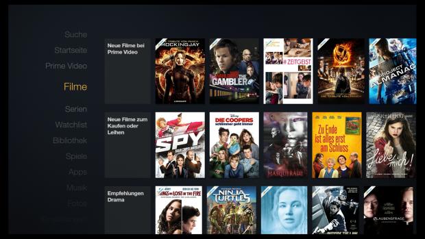 Hier zum Vergleich die alte Fire-TV-Oberfläche - noch mit Prime-Banderolen in den Covern. (Screenshot: Golem.de)